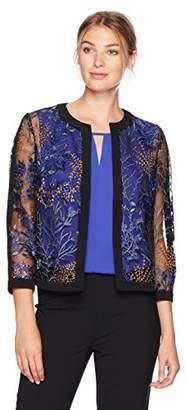 Kasper Women's Flyaway Printed Lace Jacket