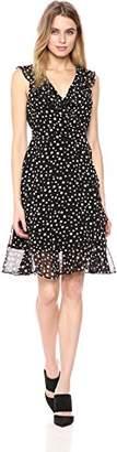 Donna Morgan Women's Printed Polka Dot Chiffon Wrap Dress