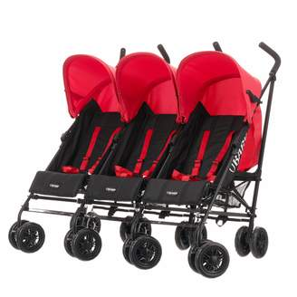 O Baby BabyCentre Obaby Mercury Triple Stroller (Black/Red)