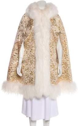 Dolce & Gabbana Fox-Trimmed Metallic Jacquard Cape