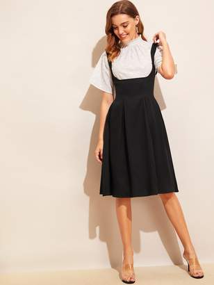 Shein Adjustable Strap Pleated Pinafore Dress