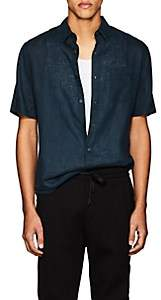 Vince MEN'S STRETCH-COTTON SHORT-SLEEVE SHIRT-BLUE SIZE S