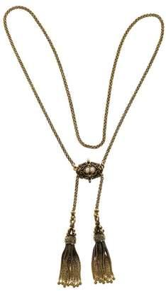 Victorian 14K Yellow Gold Black Enamel & Pearl Double Tassel Patina Pendant Necklace