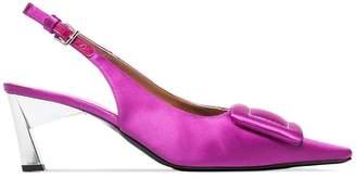 Marni pink buckle slingback 60 satin pumps