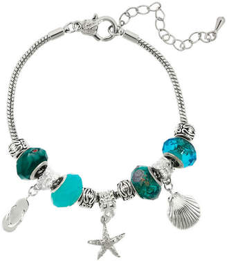 SPARKLE ALLURE Dazzling Designs Silver-Plated Blue Artisan Glass Bead & Beachy Charm Bracelet