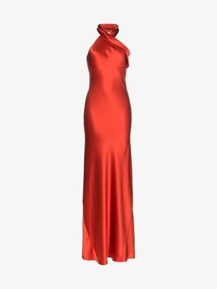 Pandora Galvan cross neck silk gown