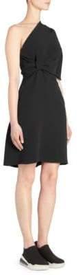 Stella McCartney One Shoulder Knot Detail Cadet Dress