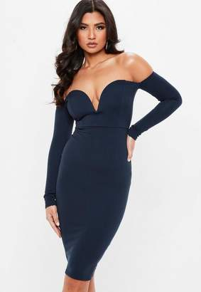 Missguided Navy Long Sleeve V Bar Bardot Midi Dress
