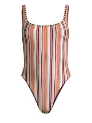 Same Swim The Goddess Gold Studded Multi-Stripe One-Piece Swimsuit