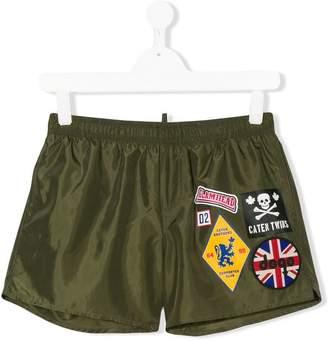 DSQUARED2 Teen badge swim shorts