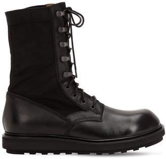 Isabel Benenato Leather & Canvas Tall Boots