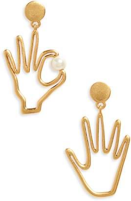 Madewell Hand Jive Imitation Pearl Earrings