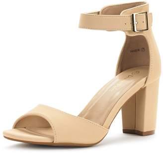 d1e75e0a41b DREAM PAIRS HHER Women s Evening Dress Low Chunky Heel Open Toe Ankle Strap  Stiletto Wedding Pumps