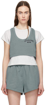 Alexander Wang Grey and Blue Bi-Layer Crop Top