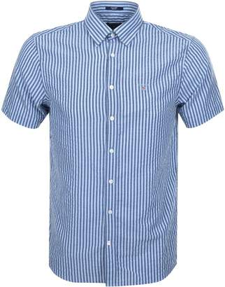 Gant Short Sleeved Seersucker Stripe Shirt Blue
