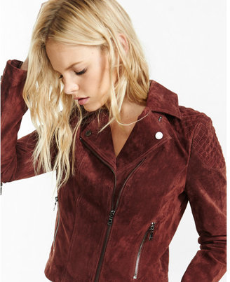 Express oxblood genuine suede quilted moto jacket $248 thestylecure.com