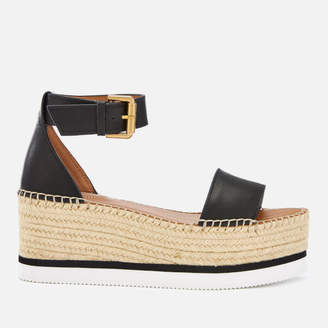 6e10b7d3f292 See by Chloe Women s Glyn Leather Espadrille Mid Wedge Sandals - Black