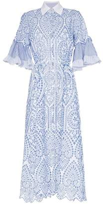 Evi Grintela Valerie lace detail collared midi dress
