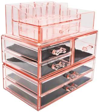 Sorbus Large Makeup Storage Case Display - Pink