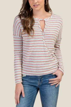francesca's Kyleigh Striped Knit Top - Sand