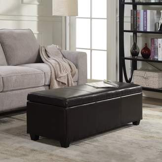 """Belleze 48"""" Bench Storage Ottoman Bedroom Luxury Faux Leather with Wooden Leg, Brown"""