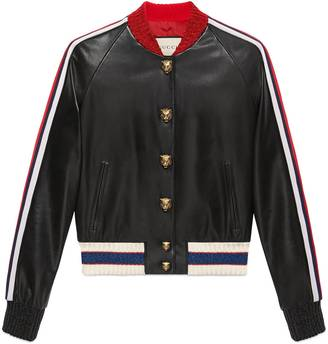 Embroidered leather bomber $3,800 thestylecure.com