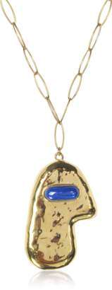 Aurelie Bidermann Peggy 18 K Gold-Plated Long Necklace w/Lapis Lazuli Stone