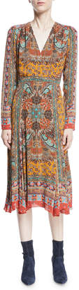 Etro Metallic Long-Sleeve V-Neck Midi Dress