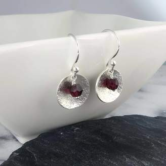 At Notonthehighstreet Wished For Garnet And Silver Disc Earrings January Birthstone