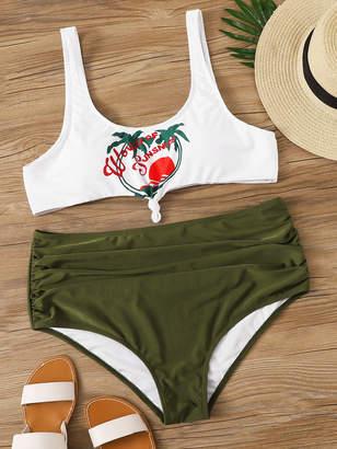 Shein Plus Tropical & Letter Top With High Waist Bikini