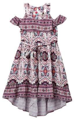 Blush by Us Angels Cold-Shoulder Twin Print Dress (Big Girls)
