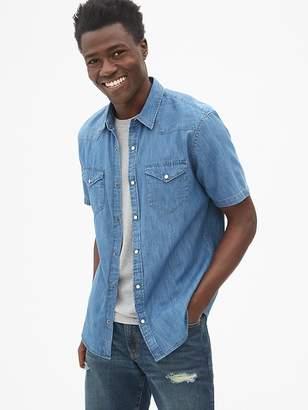 Gap Slim Fit Denim Short Sleeve Western Shirt