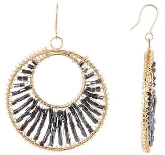 Natasha Accessories Beaded Open Circle Drop Earrings