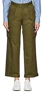 VIS A VIS Women's Cotton Canvas Cargo Pants - Olive