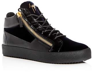 Giuseppe Zanotti Men's Velvet & Patent Leather Mid Top Sneakers