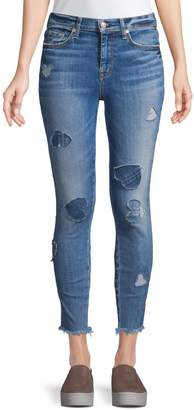 7 For All Mankind High-Rise Heart Patch Ankle Skinny Jeans