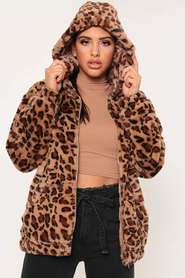 Isawitfirst Leopard Print Faux Fur Zip Up Hooded Jacket