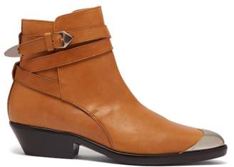 Isabel Marant Donee Metal Toecap Leather Ankle Boots - Womens - Tan