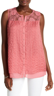Johnny Was Embroidered Button Up Silk Tank $198 thestylecure.com