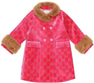 Gucci Kids GG faux fur-trimmed velvet coat