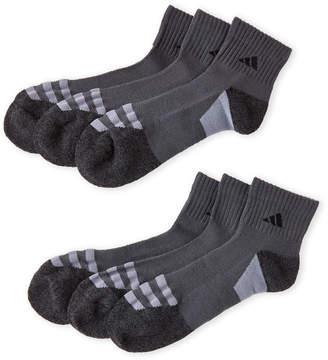 adidas 6-Pack Quarter-Cut Cushioned Socks