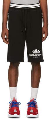 Dolce & Gabbana Black Crown Basketball Shorts
