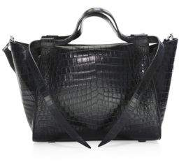 Elena Ghisellini Usonia Crocodile Leather Satchel
