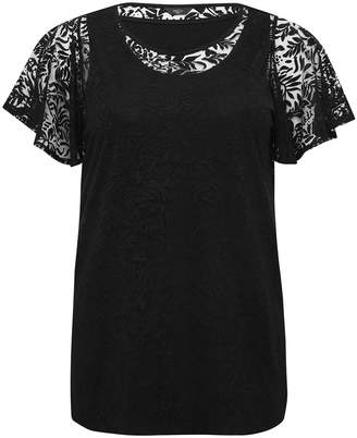 M&Co Plus floral frill sleeve top