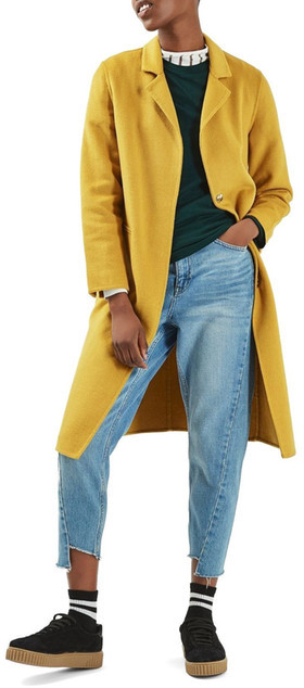 TopshopTOPSHOP Snap Button Three-Quarter Coat