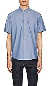 Barneys New York MEN'S ANCHOR-PRINT COTTON OXFORD SHIRT-BLUE SIZE M