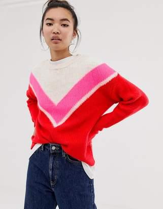 New Look chevron sweater in neon stripe