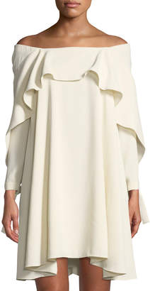 Halston Off-the-Shoulder Long-Sleeve A-Line Dress