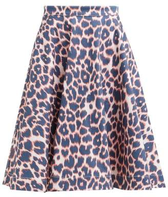 Calvin Klein Leopard Print Denim Midi Skirt - Womens - Red Multi