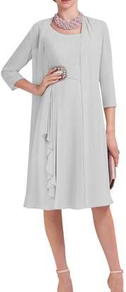 Dressyu Short 3/4 Sleeve 2 pcs Beaded Chiffon Bridal Mother Dress with Jacket USW